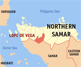 Map of Northern Samar with Lope de Vega highlighted