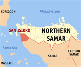 Map of Northern Samar with San Isidro highlighted