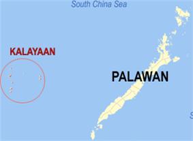 Map of Palawan showing the location of Kalayaan