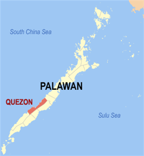 Map of Palawan with Quezon highlighted