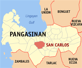 Map of Pangasinan showing the location of San Carlos