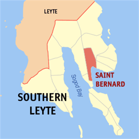 Map of Southern Leyte with St Bernard highlighted