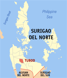 Map of Surigao del Norte with Tubod highlighted
