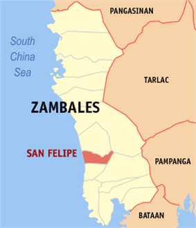 Map of Zambales showing the location of San Felipe