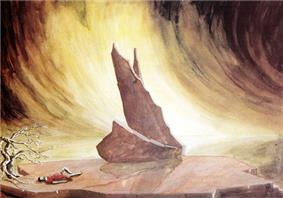 Stage setting. In the rear centre of the picture, against the background of a stormy sky, is a series of rocks forming the shape of a sailing ship. Left foreground, a sleeping figure is visible on the ground.