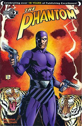 Comic-book cover, with the Phantom holding a gun in each hand and two tigers in the background