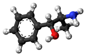 Ball-and-stick model of the phenylpropanolamine molecule