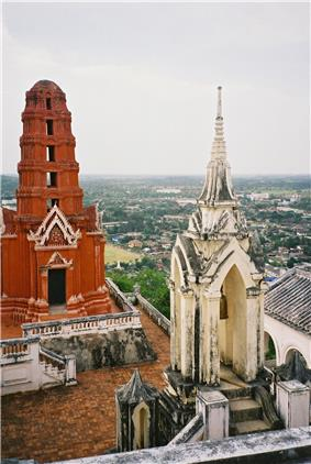 Picture taken from atop Khao Wang, in the palace compound, looking down on Phetchaburi