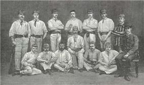 The 1884 Philadelphian cricket team as depicted in the Illustrated London News