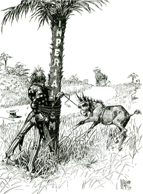 Uncle Sam (representing the United States), gets entangled with rope around a tree labelled