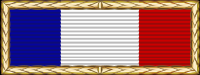 Vertical tricolor ribbon (blue, white, red) with gold border