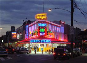 Geno's Steaks at 9th Street and Passyunk in South Philadelphia