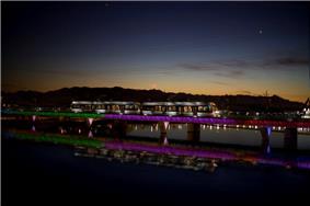 Phoenix light rail at night on the Tempe Town Lake - 2008