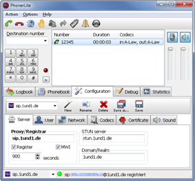 Screenshot of PhonerLite