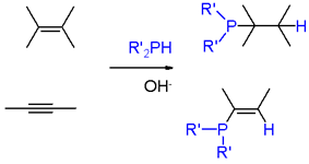 Scheme 1. Addition of phosphine and phosphines to alkenes and alkynes