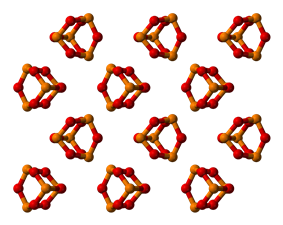 Packing of P4O6 molecules in the crystal structure