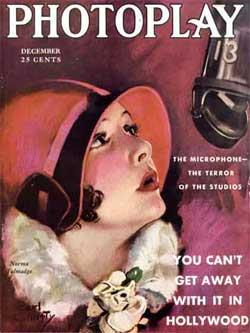 Magazine cover with illustration of a young woman wearing a form-fitting red hat staring up at a suspended microphone. Accompanying text reads,