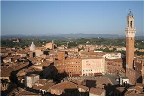 View of downtown Piazza del Campo (Campo Square), with the Mangia Tower (Torre del Mangia) and Santa Maria Church