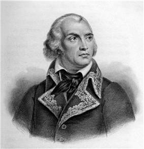 Black and white print of a man with collar-length white hair and a prominent widow's peak. He wears the dark uniform of a 1790s French general.