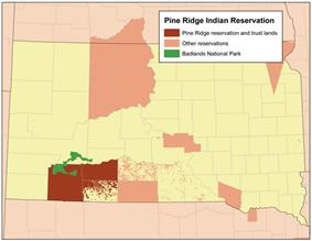 Location of Pine Ridge Indian Reservation, South Dakota
