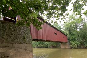 Pinetown Bushong's Mill Covered Bridge over the Conestoga River in Manheim Township.