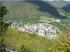 Pineville, as seen from atop Pine Mountain