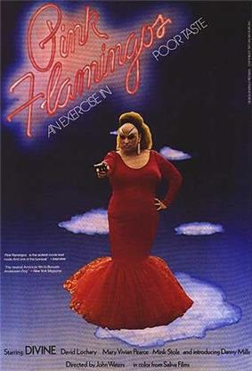 An obese drag queen stands center stage, holding a gun as the title is above her, with the tagline