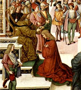 A bearded man sitting on a throne puts a laurel wreath on the head of a younger man who is kneeling before the throne