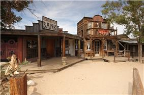 Saloon, bank, bath house and livery stables on Mane Street, Pioneertown, CA