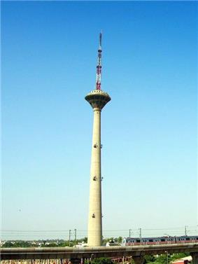 Pitampura TV Tower with background of blue sky