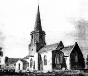 Engraving of a church building with a hexagonal tower supporting a spire.