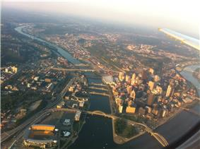 The North Shore (left) lies across the Allegheny river from downtown.