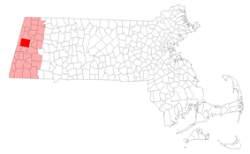 Location (dark red) in Berkshire County (light red) in Massachusetts (white)