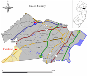 Map of Plainfield in Union County. Inset: Location of Union County highlighted in the State of New Jersey.