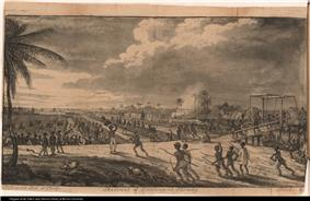 Large group of blacks (slaves) force the retreat of European soldiers. Includes canal, boat, drawbridge, dwellings, guns or muskets, flag, hogs, pigs, dogs, and bayonets.