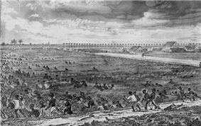 Black & white drawing of negroes with cutlasses fighting uniformed troops in an open field, some corpses and abandoned weapons lying on the ground