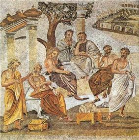 Image of mosaic from a villa in Roman Pompeii, showing Plato's Academy in ancient Athens, with men in robes, some seated on a bench under a tree