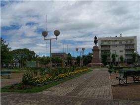 Monument to José Gervasio Artigas, by Edmundo Prati, at Plaza Artigas in downtown Salto.
