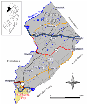 Map of Pohatcong Township in Warren County. Inset: Location of Warren County highlighted in the State of New Jersey.