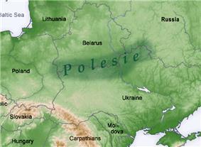 Polesia marked in dark green