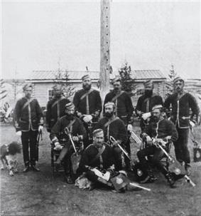 1878 photograph of NWMP members at Fort Walsh
