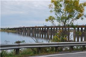 A wide box girder bridge.
