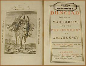 Frontispiece—an engraving of a donkey burdened by a pile of books—and title page of a book, incribed