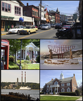 Clockwise from top: a view of shops on Main Street, monument commemorating the village's maritime past, Port Jefferson Village Hall, A ferry passes a local power plant en route to Bridgeport, Connecticut, Port Jefferson Free Library