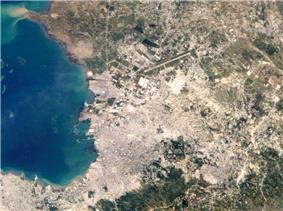 Aerial view of the Port au Prince area.  Croix-des-bouquets is in the top-right corner