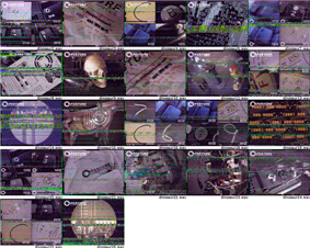 A montage of about 20 images, each showing a good deal of static and noise over the images included. The images are of everyday office items, in some cases, a set of 4 images together to mark specific letters or numbers.
