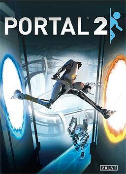 Cover art of the game; two humanoid robots are shown standing into a large, futurist setting with catwalks, pneumatic tubes, and other features in the background. One robot (P-Body) is crossing between two portals in the foreground, the other (Atlas) watching from behind.