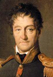 Painting of a long-faced man with wavy brown hair. He wears a dark blue military coat with gold epaulettes.