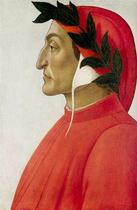 head-and-chest side portrait of Dante in red and white coat and cowl