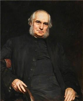 Portrait painting of an older grey-haired man with grey whiskers clad in black and sitting in a chair